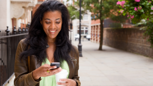 woman utilizing business texting